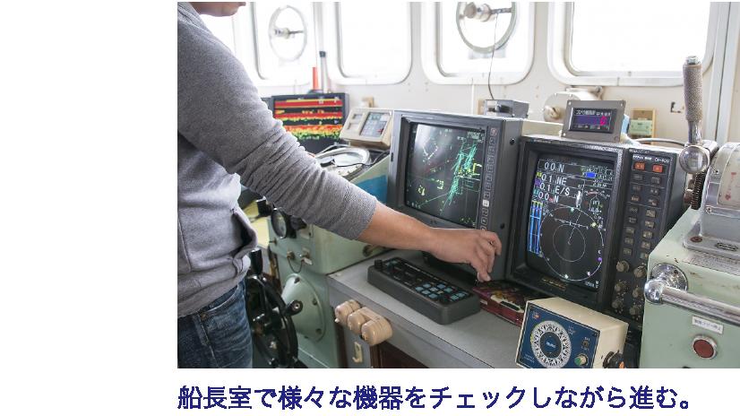 船長室で様々な機器をチェックしながら進む。